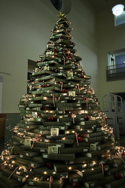 they can be library fundraisers or a sustainable option to more traditional christmas trees the trees can be freestanding or built on shelves - When Was Christmas Made