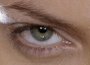 An eye with a hazel iris