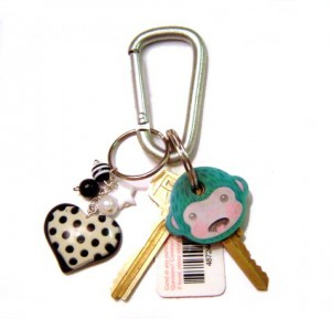 Key chain with scan card and polka-dotted heart charm
