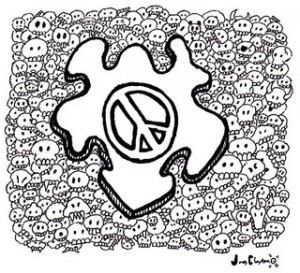 A puzzle piece with a peace sign on it