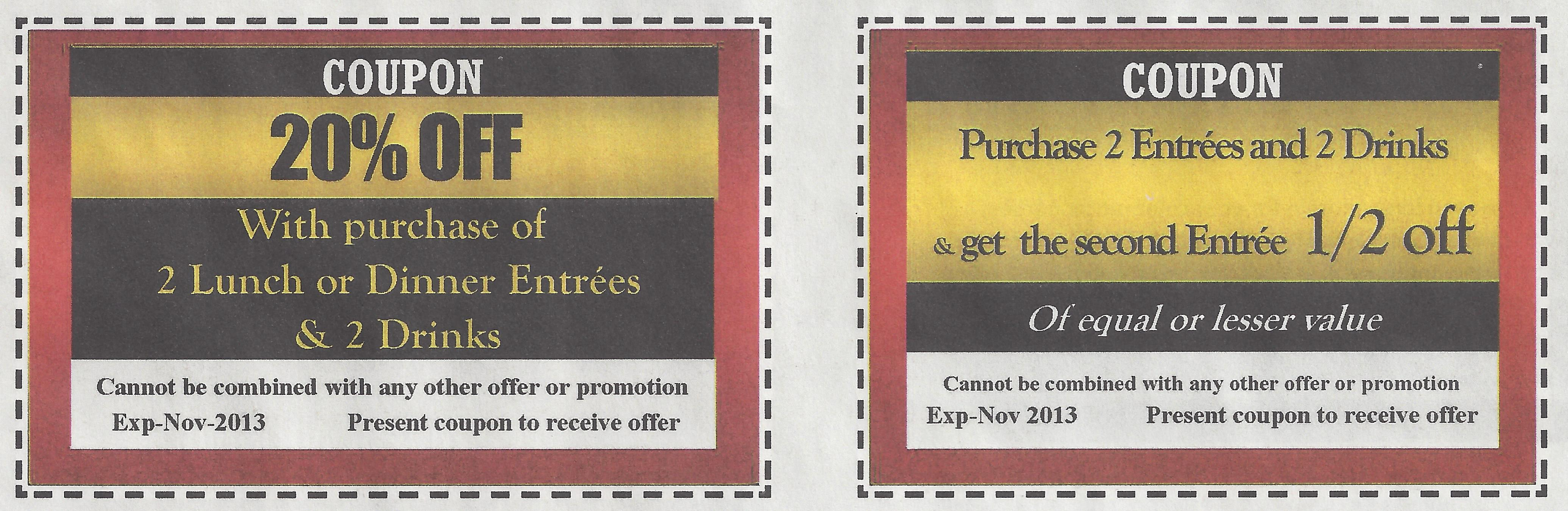 Diner coupons