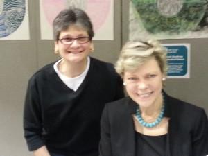 Michelle Hutchinson and Cokie Roberts at the Davis Academy, Atlanta, GA