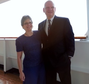 Michelle Hutchinson and her husband during formal night on a recent cruise.