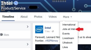 Jobs at Intel screen shot