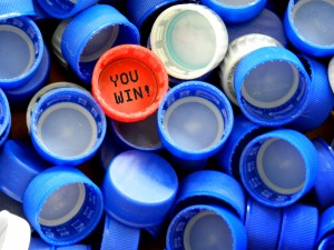 "Bottle cap that reads, ""You win!"""